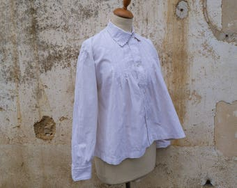 Vintage Antique 1900s French Edwardian collar handmade embroiderys flared shirt size S/M