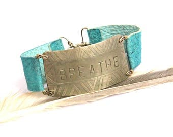 Tribal Etched Silver BREATHE on Turquoise Leather Bracelet (B1343)
