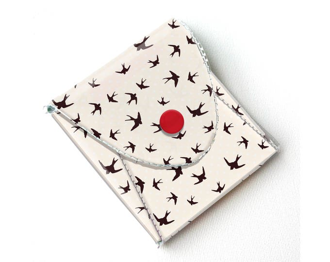 Vinyl Coin Purse - The Birds / birds, teal and red, clouds, sky, wallet, vegan, change, snap, small, pocket wallet, gift, hitchcock