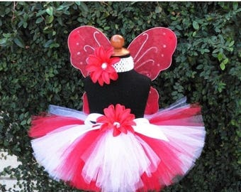 SUMMER SALE 20% OFF Tutu - Starlight - Red White Custom Sewn Tutu - Perfect for Christmas & Valentine's Day - Wings Not included - newborn u