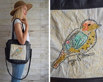 MADE TO ORDER  // Embroidered bird, antique parisian lace, upcycled leather