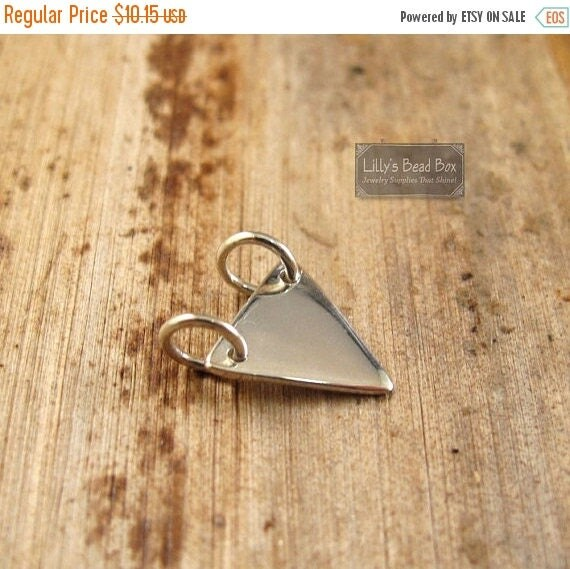 SALE 50% off - Silver Triangle Charm, Sterling Silver Triangle Stamping Blank Geometric Small Charm, Jewelry Supplies (Ch - 2872)