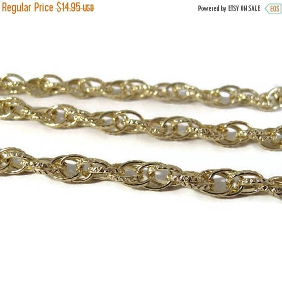 Summer SALEabration - Gold Plated Chain, Textured Singapore Chain, 19 Inches of Beautiful Gold Chain, Jewelry Supplies (F-11a)