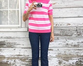 Vintage 60s pink shirt/sweater,lightweight,striped top,chic,cute,nautical,short sleeve,novelty,zipper,casual,soft