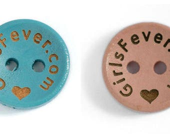 Personalized button pink / blue custom wood button 15mm 18mm with your own name