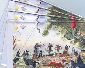4 border collie dog greeting cards lazy days of summer picnic sheepdog playing violin flying kite romantic couple dancing dogs Susan Alison