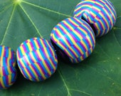 Set of Chunky Round Beads in Pastel Striped Pattern Handmade Polymer Clay Artisan Jewelry Supplies