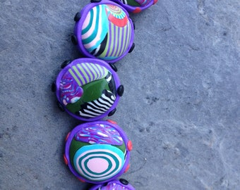 Set of Round Puffy Beads in Coral Khaki and Purple Handmade Polymer Clay Artisan Jewelry Supplies