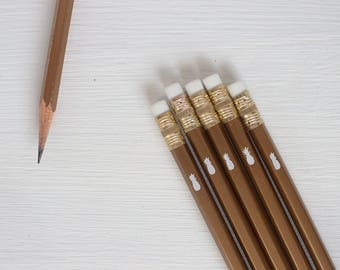gold pencils with a white foil pineapple - set of 35