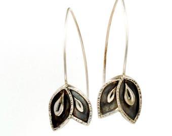 Leaf Drop Hoops - Dark Oxidized Leaf Earrings