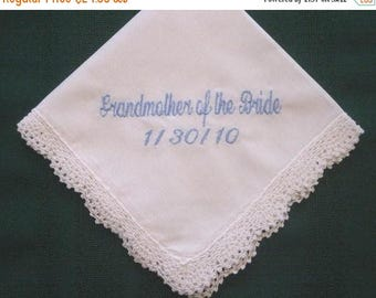 ON SALE Grandmother Wedding Handkerchief with Gift Box 82S Personalized Wedding Handkerchief