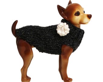 Charcoal Grey Dog Sweater with Flower