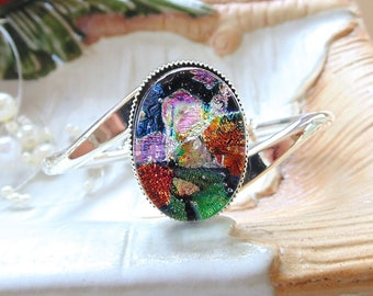 Silver Plated Dichroic Glass Cuff Bracelet, Pink, Red, Green, One of a Kind