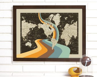 Vintage Map Art, Not All Who Wander are Lost, Mod World Map Art Lithograph