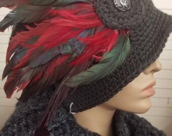 Black Cloche Hat with Feathers - Crochet Hat - Black Hat - Crochet Cap