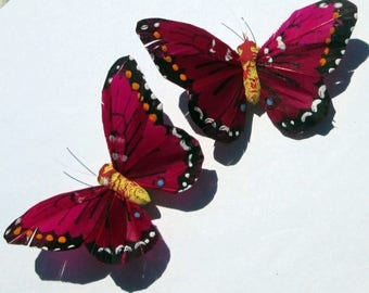 Butterfly Hair Clips Magenta feather butterfly hand made hair clip by Ziporgiabella Butterfly Accessories