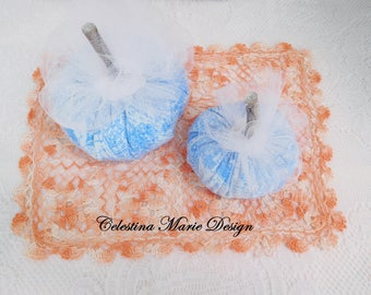 Blue Flannel Fabric Toile 2pc Pumpkin Set with Real Tree Stems,Glitter and Tulle Ribbon, Fall Home Decor, ECS