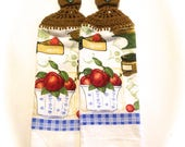 Apples Hand Towels With Antique Taupe Crocheted Tops- Pair
