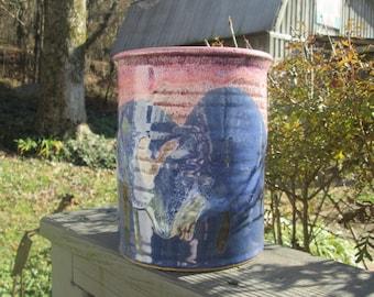 Vintage Hand Thrown Pottery Crock - Blue Pink and Purple Stoneware Pot - Pottery Utensil/Art Brush Holder