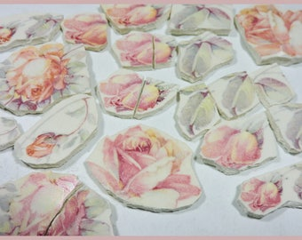 Mosaic Tiles - AnTiQuE FaDED RoSES  -  Broken China Plate Mosaic Tiles