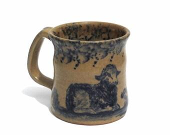 Vintage Stoneware Mug Sheep Signed Becky Mummert E. Berlin PA Dated 1989 Handmade Pottery 8 ounce Coffee Mug Primitive Folk Art Ceramic Mug
