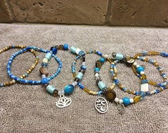 Teal  and  cream gypsy beaded bracelets