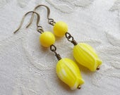 50% Off Sale, Yellow Tulip Earrings, Vintage Glass Beads, Clearance Sale, Antique Brass