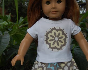 Handmade Doll clothes /  18 inch doll clothes -  Amy Butler's Lotus Fabric Skirt outfit