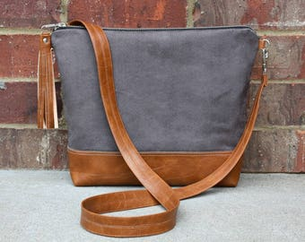 Gray Suede Cross Body Bag Vegan leather