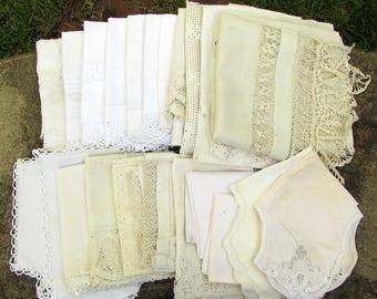 Huge Vintage Linens Grab Bag - 22 pc - WHITES - tablecloths pillowcases - destash - cutter linens - large bulk linen lot - fabric