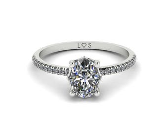 """Diamond Engagement Ring Semi Mount - 5x7mm Oval """"Lola"""" Solitaire Ring by Laurie Sarah - add the center stone of your dreams - LS5129"""