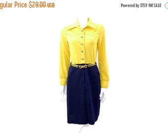 Summer Sale Vintage Color Block Day Dress // 1960s Long Sleeve Knee Length Polyester Yellow Dress// 136