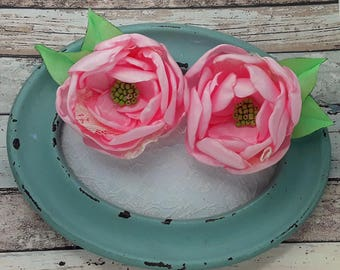 Pair of Pink Taffeta Flower hair clips or hair ties, handmade Pink taffeta flower hair barrettes, Pink flower hair slides