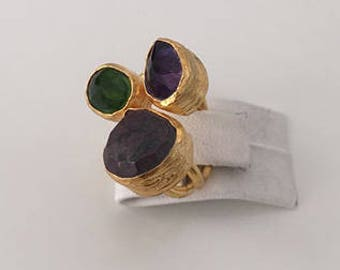 Triple Gold plated Amethyst, Peridot  ring