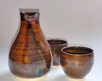 Sake Set - Sake Bottle with 2 Cups - Brown & Amber with Golden Flecks - Wheel Thrown Pottery