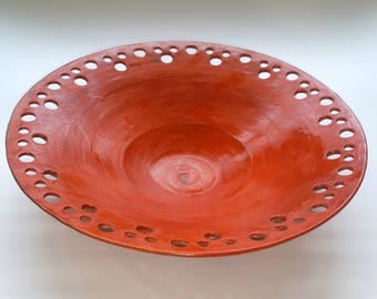 Orange Flared Bowl - Coffee Table Bowl - Wheel Thrown Pottery - Textured Bottom is Burnt Orange as the Glaze was Thinner