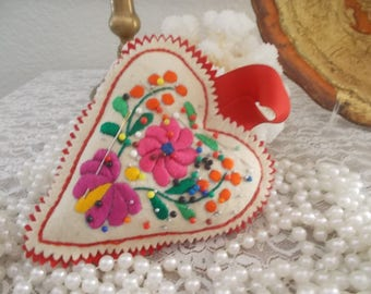 Hand made Pincushion Felted heart Hugairian with embroidery