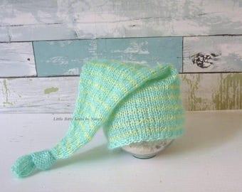 Knit Baby Hat, Sleep Hat,  Baby Hat, Newborn Elf Hat, Newborn Hat, Newborn Photo Props, Buy 2 get 1 FREE
