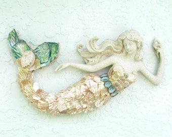 Mermaid Decor, Mermaid with Shells, OOAK Mermaid, Mermaid Figurine Statue, Mermaid for wall, Mermaid Art,  Mermaid Wall Art