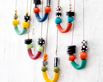 Statement Necklace, Beaded Necklace, Chunky Beads, Modern Necklace, Gift for her, Hand-made Beads, Asymmetrical Necklace, colorful necklace