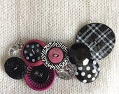 Button Necklace - Plaid P...