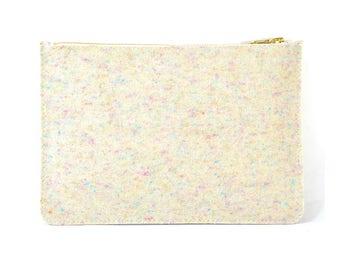 Coralie - Handmade Fizzy Felted Wool Clutch Bag Zip Pouch Purse