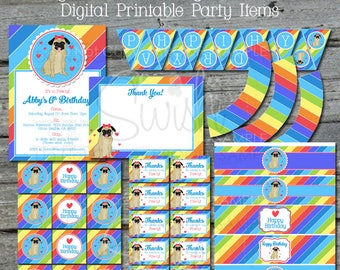 Pug Birthday Party Printable Package | Digital Pug Pawty | Invite Thank you Cupcake Favor tag| Water bottle labels | Digital Download