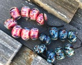 7 sets RESERVED for Glenna -Boro Beads - Lampwork Beads - Handmade Glass Beads - Purple and Leopard Print