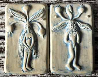 Male and Female Mandrake Root Plaque Set Green or Blue Wash Rustic Pottery Pagan Home Decor