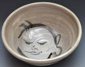 Big Buddha Bowl Perfect for Soup or Porridge in Raku Ceramics Black and White Crackle Glaze 3