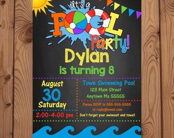 Pool Party Invitation, Pool Party Birthday Invitation, Pool Party Invite, Pool Party Invitation Boy, Pool Party Invitation Girl, Pool Party