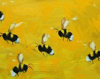 Bee painting 397 - 12x24 inch insect animal portrait original oil painting by Roz