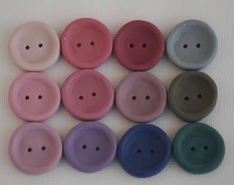 """23 mm handmade buttons set of 12 """"Rose bush"""", Pink, violet, blue, green colors"""