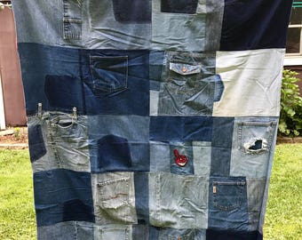 Quilt Throw Blanket Recycled Blue Jean Denim Cleveland Indians OOAK